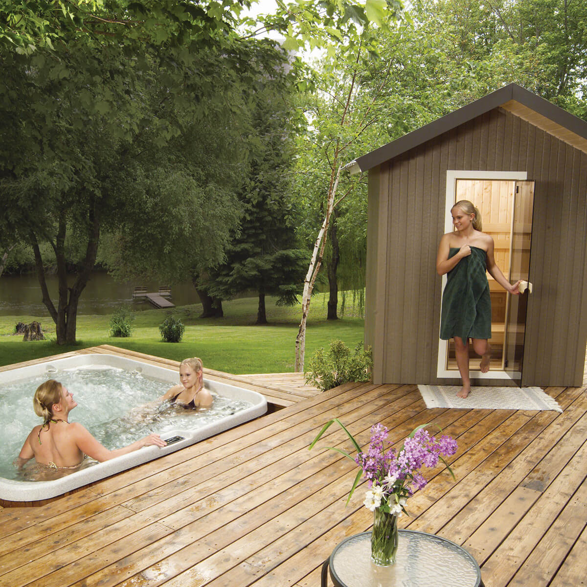 Patio Outdoor Sauna Family Image